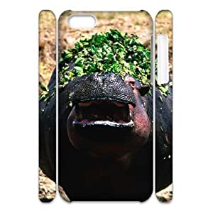 Cell phone 3D Bumper Plastic Case Of Hippo For iPhone 5C