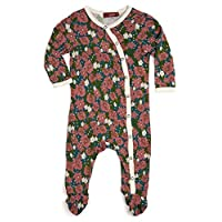 """Milkbarn Bamboo Footed Romper """"Teal Floral"""" (3-6 Months)"""