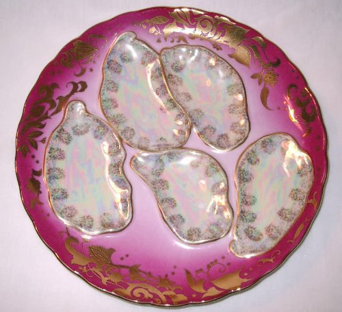 Rose and Mother of Pearl Oyster Plate with Gold Trim