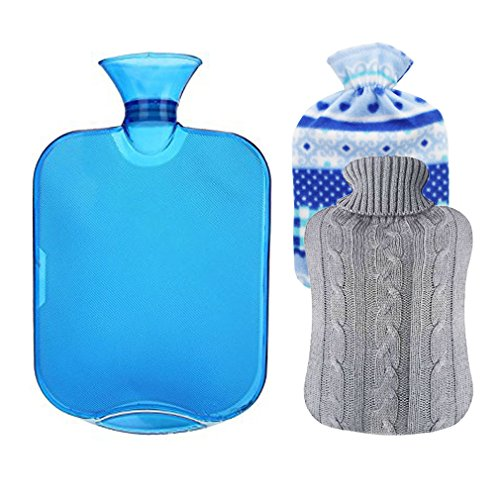 Pvc Water Bottles (MorTime Hot Water Bottle With Knit Cover,2L Hot Water Bottle,Environmental protection PVC material (Blue + 2 Covers))