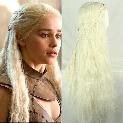 [Harvest Game of Thrones Cosplay Daenerys Targaryen Khaleesi Barbarian Long Curly Wig] (Daenerys Targaryen Costume Hair)