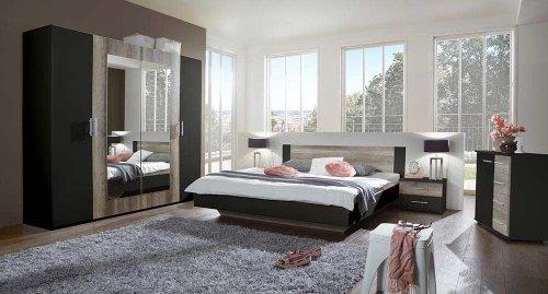 4-tlg-Schlafzimmer-Lavafarbig-mit-Wildeiche-Nachbildung-Kleiderschrank-Breite-225-cm-Futonbett-180-x-200-cm-2-Nachtschrnke