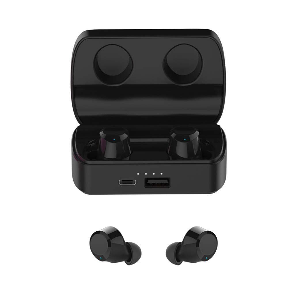 Barcley Q6 True Wireless Earbuds, Bluetooth 5.0 Headphones with 12 H Play Time,TWS Stereo Noise Cancelling Waterproof in-Ear Built-in Mic Autopair Wireless Earphones with Charging Case (Black)