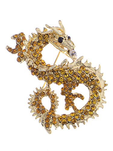 Alilang Antique Golden Tone Topaz Crystal Rhinestones Chinese Dragon Brooch ()
