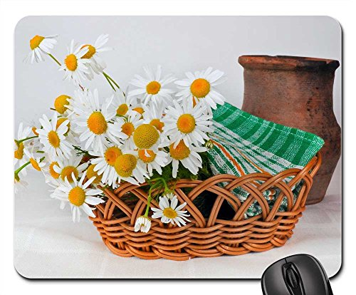 Daisy Jug - Mouse Pads - Daisies Basket Weaving Pot Jug Clay Old