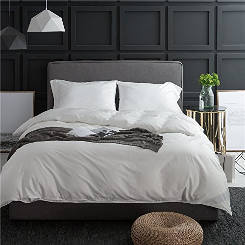 LifeTB Elegant Solid White Luxury Wedding Duvet Cover Sets King Size with Buttons, Soft Egyptian Cotton Comfortable and Durable Hotel Bedding Sets by