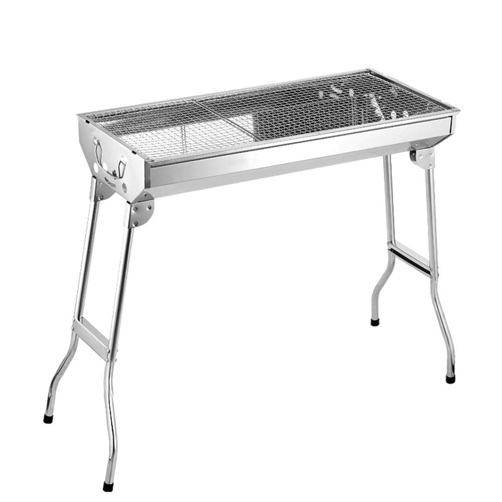 MCJL Stainless Steel Grill, Outdoor Charcoal Grill BBQ Carbon Oven Collapsible Portable Grill, Suitable for Summer outings