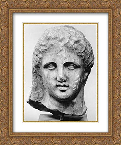 (Greek, Attic Culture - 20x24 Gold Ornate Frame and Double Matted Museum Art Print - Marble Head of a Woman from a Grave Marker)