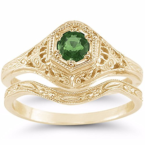 Victorian-Period Antique-Style Emerald Wedding and Engagement Ring Set, 14K Yellow Gold - Size 7 14k Yellow Gold Victorian Antique