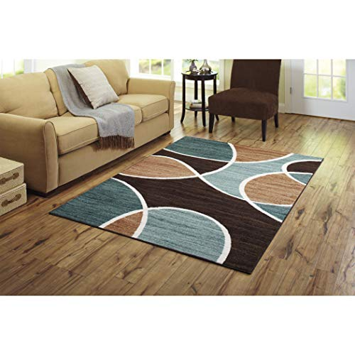 Stylish Texture Geo Wave Textured Print Nylon Area Rug (5'x7', Blue) from Better Homes & Gardens..