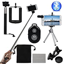 xhorizon SRR Universal Wireless Selfie Kit including Selfie Stick, Tripod and mini Lens for iPhone 7/7 Plus Samsung S8/S7/S6, Bluetooth Remote Control for IOS or Android Phones
