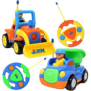 2 Cartoon RC Dump and Bulldozer Trucks Radio Remote Control with Music & Sound includes 2 Figures Toys for Baby, Toddler and Kids Cars, Christmas Stocking Stuffers, and Easter Basket Stuffer Fillers