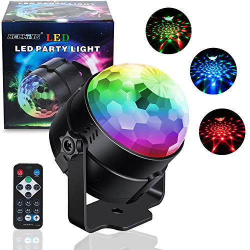 Disco Light Crystal Magic Rotating Ball Party Effect LED Stage Lights with Multi-Colors Disco Ball Lamps,3W RGB 7 Colors for KTV Lighting,X'mas Party,Wedding Show,Club Pub DJ Lighting - 2nd generation