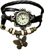 Leather Hand Knit Vintage watches girl's Watch(Black)