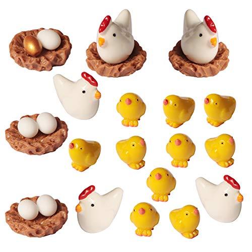 26 Pcs Cute Mini Animal Figurines Miniature, SPWOLFRT Family Chicken Cock Ornament Micro Fairy Garden Décor for Moss…