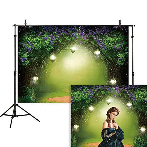 Enchanted Spring - Allenjoy 7x5ft Spring Photography Backdrops Garden Enchanted Forest Spring or Summer Trees Forest Grass Newborn Birthday Party Background