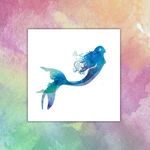 Mermaid Watercolor - Temporary tattoo