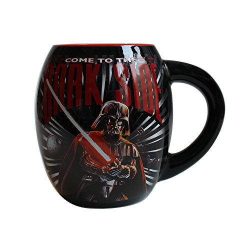 Silver Buffalo SW3844 Disney Star Wars Come to the Dark Side Oval Curved Ceramic Mug, 18-Ounces