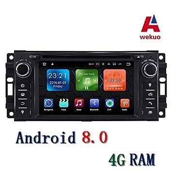 Wekuo - Reproductor de DVD para Jeep Grand Wrangler (Radio GPS, estéreo, 7 Pulgadas, 4G RAM, Android 8.0): Amazon.es: Coche y moto