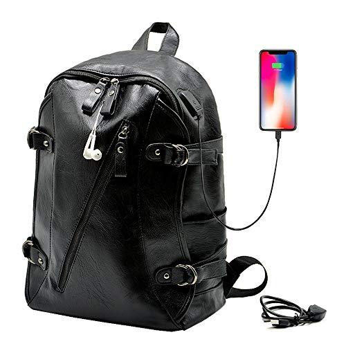 Leather Laptop Backpack USB Charging Port Waterproof Computer Backpack for Men Fashion College School Backpack Bookbag - Calculator Usb Laptop