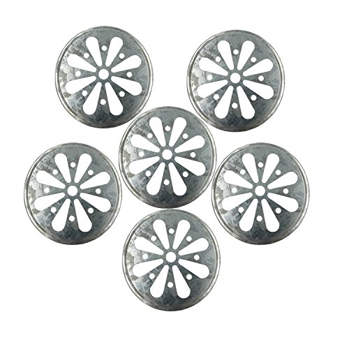 Galvanized Metal Daisy Cut Lid Insert for Mason, Ball, Canning Jar (6pack, Regular Mouth)