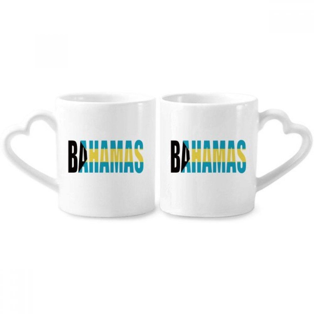 バハマ国フラグ名カップル恋人向けマグカップセラミックカップハートハンドル12ozギフト   B07C4R2J95