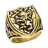 Dixinla Rings Steel , European and American Fashion Domineering Animal Lion Head Men Titanium Steel Ring Jewelry Gift for Family or Friends
