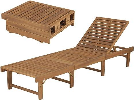 mewmewcat Tumbona Plegable de Jardín Tumbona de Exterior,Respaldo Durabilidad y Practicidad Madera Maciza de Acacia 200x61x30/86cm: Amazon.es: Deportes y aire libre