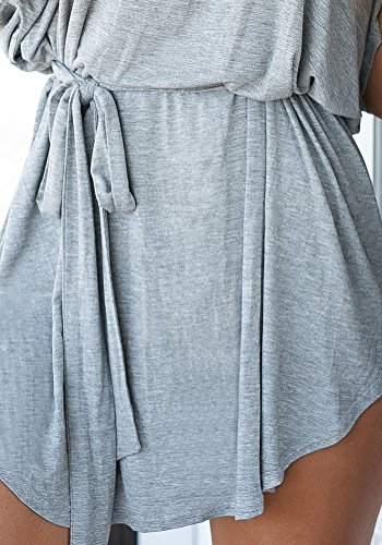 LookbookStore Women's Casual Grey Loose Fit T-Shirt Dress