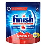 Finish Dishwasher Detergent, Max in 1 Powerball Super Charged, Lemon, 74 Tablets, Powerful Clean Everytime