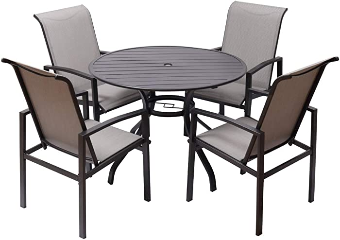 "Fit Right 5 Pieces Outdoor Dining Set Patio Furniture with Metal Slat Finish, Steel Tube 38"" Round Dining Table and Patio Chairs with 1'5"" Umbrella Hole"