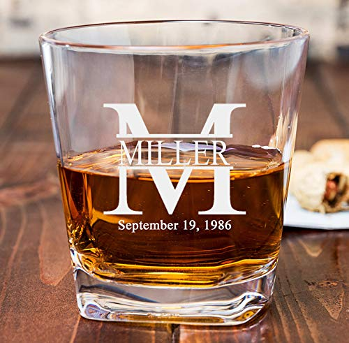 Personalized Cube Rocks Glass - Whiskey Glass | Groomsmen or Groomsman Gift - Miller ()