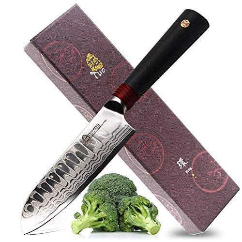 Tuo Cutlery Santoku Knife - Meat and Vegetable Knife- Japanese AUS-10D Damascus High Carbon Steel - Ergonomic G10 Handle - RING-D Series Santoku knives 5.5""