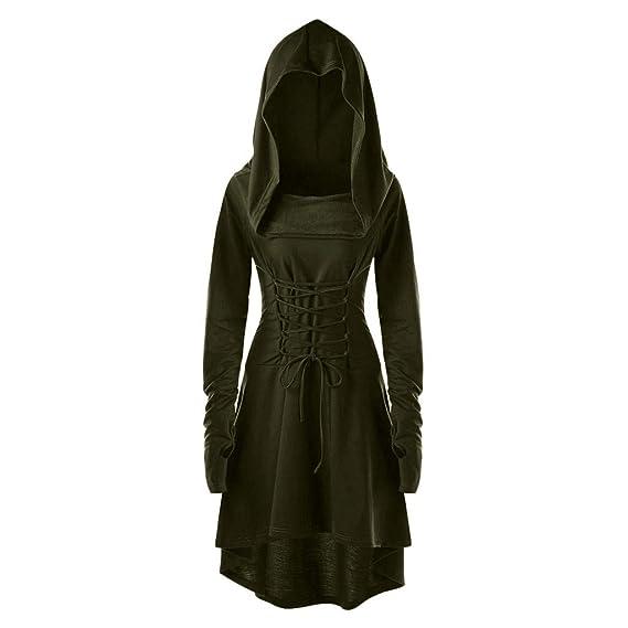 Lange Kostüme Unregelmäßigen Umhang Mcys Damen Lace Up Kleid Saum Hooded Vintage Mantel Bandage Pullover RqS354ALcj