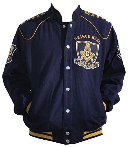 Big Boy Headgear Masons Prince Hall Mens Twill Jacket Navy Extra Large Blue/Gold by Big Boy Headgear