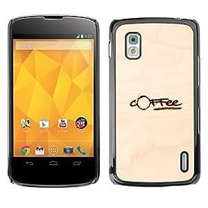GOODTHINGS Funda Imagen Diseño Carcasa Tapa Trasera Negro Cover Skin Case para LG Google Nexus 4 E960 - mancha de café de papel marrón cafeína
