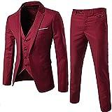 FUMUD Mens Suits Wedding Groom Plus Size 3 Pieces(Jacket+Vest+Pant) Slim Fit Casual Tuxedo Suit Male (US Regular 38/Waist 32, Wine Red)