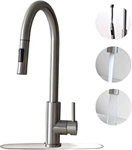 Trywell Brushed Stainless Steel Kitchen Sink Faucet with Pull Down Sprayer Single Lever Silver Mixer Tap Stream & Spray Dual Function 1 or 3 Hole Deck Plate