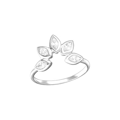 Liara Polished Nickel Free Flower Jeweled Rings 925 Sterling Silver