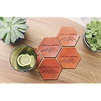5 Personalized Leather Coasters, Custom Leather Coaster set, Hexagonal Geometric Housewarming wedding anniversary gift. Mountains, wanderlust