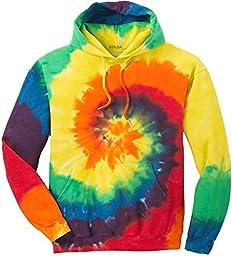Joe\'s USA(tm) Hoodies Tie-Dye Hooded Sweatshirt,Medium Rainbow Tie-Dye