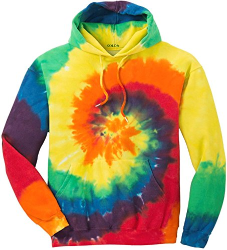 Joe's USA Hoodies Tie-Dye Hooded Sweatshirt,Large Rainbow Tie-Dye