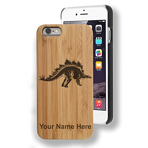 Bamboo case Compatible with iPhone 6 and iPhone 6s, Stegosaurus Dinosaur, Personalized Engraving Included ()