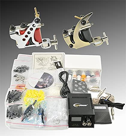 Complete Tattoo Kit 2 Tattoo Machine Kit With Power Supply And Tattoo...