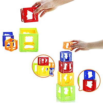 AIVIAI Nesting Blocks Stacking Cubes Nesting Cups Stacking Toy for Baby Kids: Toys & Games