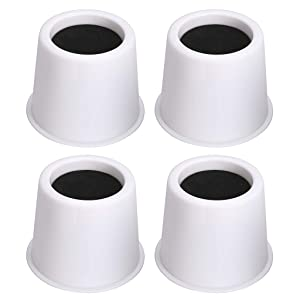 """OwnMy Round Circular Bed Risers Heavy Duty Furniture Risers Lifter for Bed Table Chair Sofa, Set of 4 (3"""" - White)"""