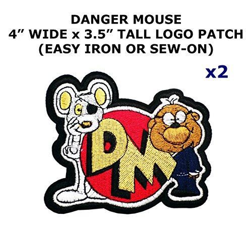 Danger Mouse Costume Childrens (2 PCS Danger Mouse Cartoon Theme DIY Iron / Sew-on Decorative Applique Patches)