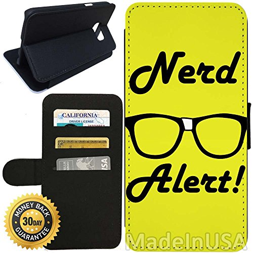 Flip Wallet Case for Galaxy S7 (Nerd Alert Glasses) with Adjustable Stand and 3 Card Holders | Shock Protection | Lightweight | Includes Stylus Pen by - Glasses Walmart Nerd