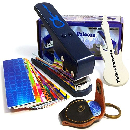 Guitar Pick Designed (Pick-a-Palooza DIY Guitar Pick Punch Mega Gift Pack - the Premium Pick Maker - Leather Key Chain Pick Holder, 15 Pick Strips and a Guitar File - Blue)