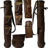 YNR Instruments Ltd Tan Cowhide Leather Golf Club Ball Bag Two Pockets H-34 Inch D-5.5Inch New